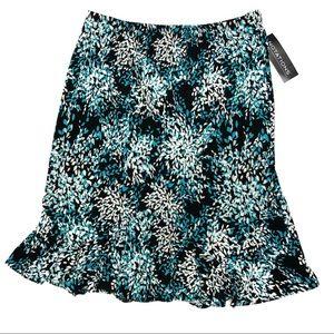 Notations black & blue floral skirt - XL